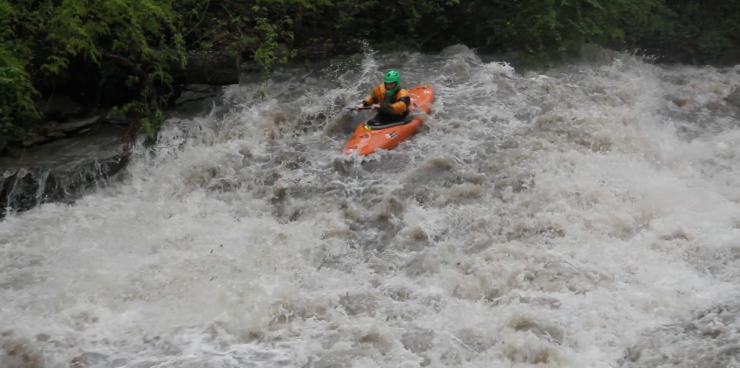 Screen Shot from a video of Patrick Griffin paddling Reedy Creek (video Hunter Davis)